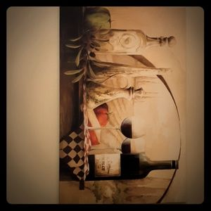 Large Italian style wine and vineyard painting
